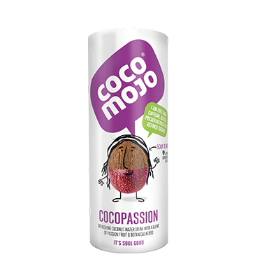CocoMojo Passion - A delightful and delicious coconut water drink blended with passion fruit and a burst of botanical herbs.